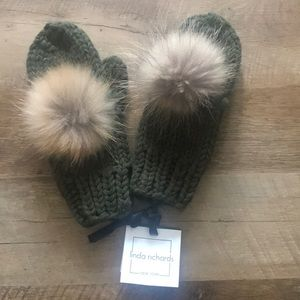 Linda Richards Knit Mittens with fur